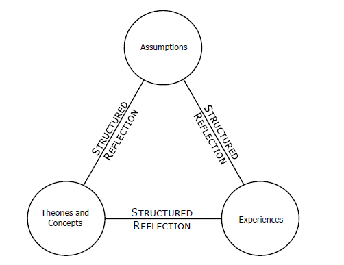 Sturctured Reflection Triangle comprising Assumptions, Theories, and Experiences
