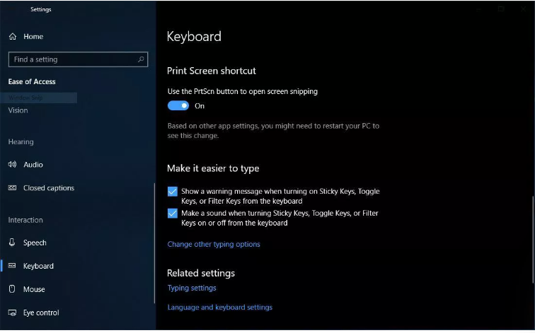 turn on print screen button activation of the screen snipping tool