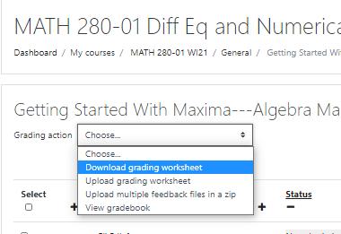 Select Download grading worksheet from the dropdown menu