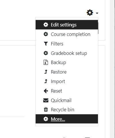 """From the Gear Menu, Select """"More"""" and then """"Reports"""" finally """"Course Administration""""."""