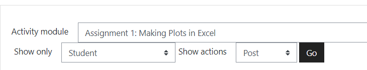 Select the activity from the dropdown menu, then specify   only Students, and show actions Post.  Hit Go